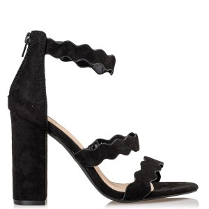 ZIP UP BLOCK HEEL SANDALS